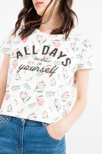 Floral patterned cotton crop T-shirt, Milky White, hi-res