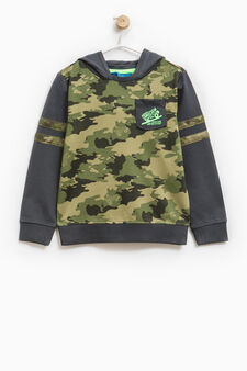 100% cotton sweatshirt with camouflage pattern, Green/Grey, hi-res