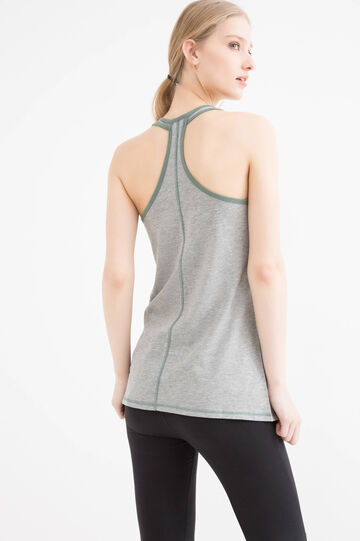 Gym top with scoop neck, Grey Marl, hi-res