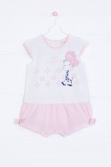 Printed romper suit in stretch cotton, White/Pink, hi-res