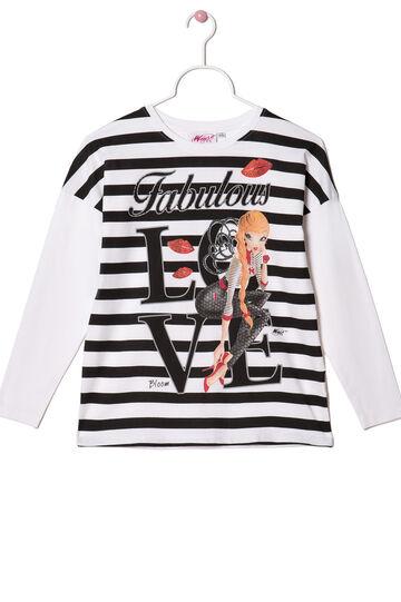 Stretch T-shirt with Winx Club print, White/Black, hi-res