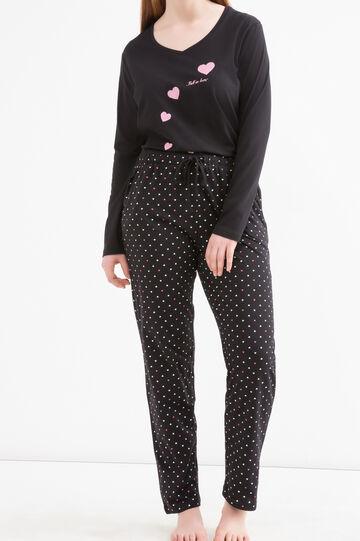 Curvy printed pyjama trousers, Black, hi-res