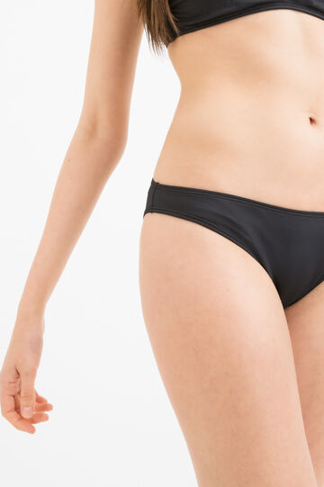 Solid colour stretch bikini bottoms, Black, hi-res