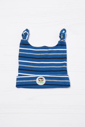 Striped cotton hat with double knot, Blue, hi-res