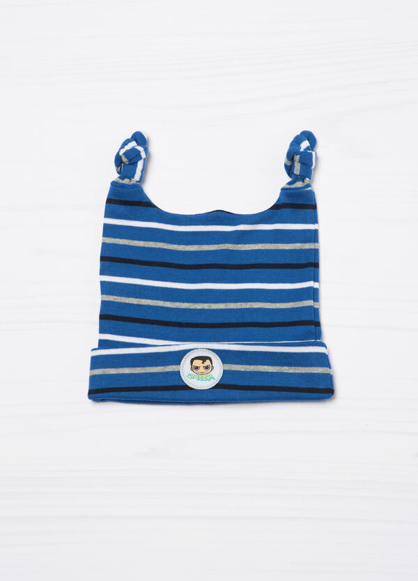 Striped cotton hat with double knot | OVS