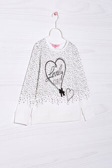 Sweatshirt with diamanté and bow, Milky White, hi-res