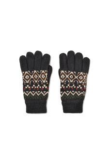 Geometric patterned gloves, Dark Grey, hi-res