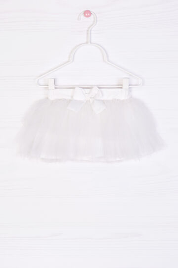Gonna a balze in tulle, Bianco, hi-res