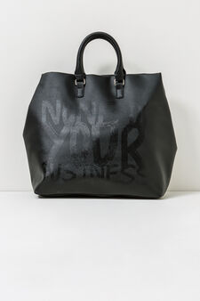 Handbag with printed lettering, Black, hi-res