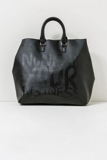 Handbag with printed lettering, Black, hi-res