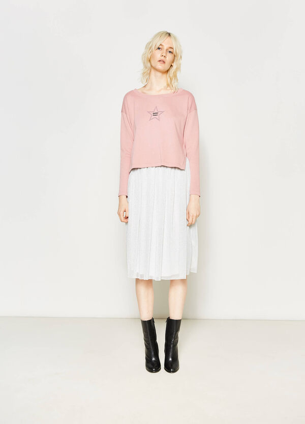 Skirt with pleating and lurex | OVS