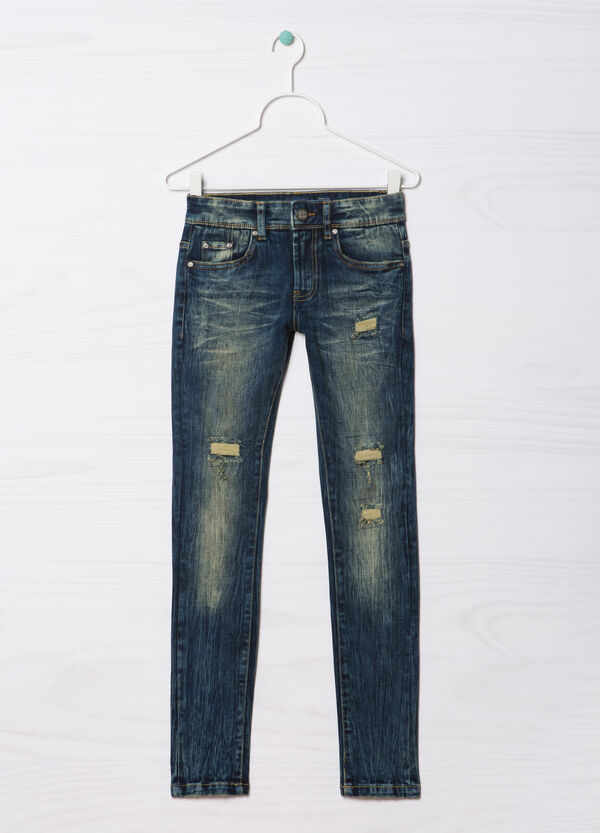 Slim-fit Blue Black jeans with rips | OVS