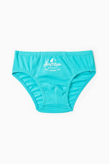 Stretch cotton briefs with printed lettering, Light Blue, hi-res