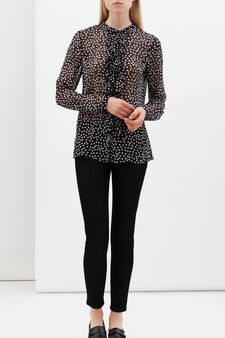Polka dot shirt with frill, White/Black, hi-res