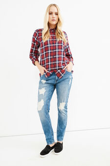 Curvy check shirt in 100% cotton, Blue/Red, hi-res
