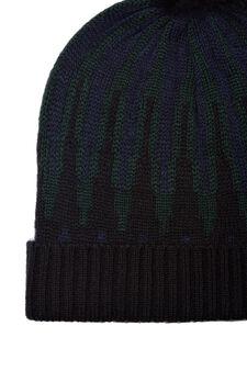 Patterned hat with pompoms, Navy Blue, hi-res