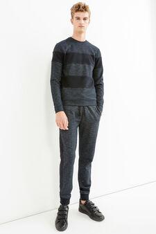 Striped pullover in 100% cotton, Black, hi-res
