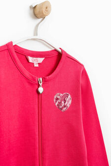 Sweatshirt in 100% cotton with front pouch pocket, Strawberry Red, hi-res