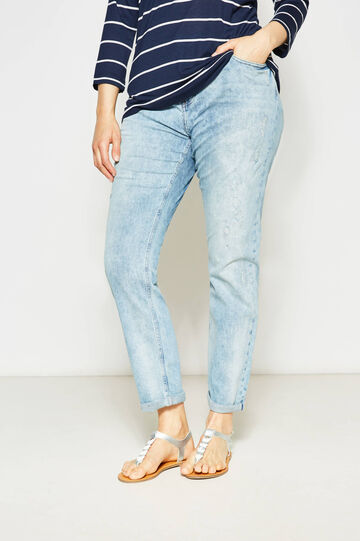 Curvy used-effect stretch jeans with embroidery