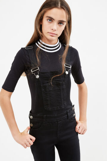 Teen stretch dungarees with adjustable braces, Black, hi-res