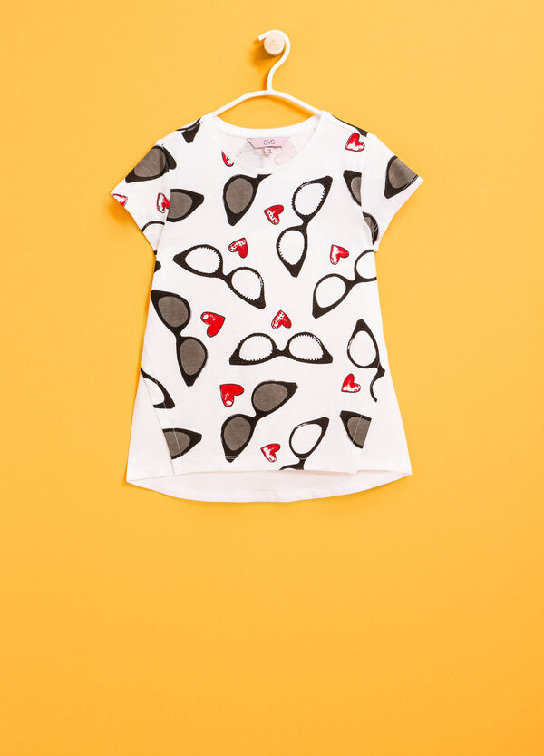T-shirt in 100% cotton with print and diamantés | OVS