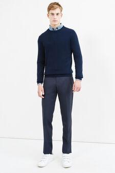 Pullover cashmere e seta tinta unita, Blu navy, hi-res