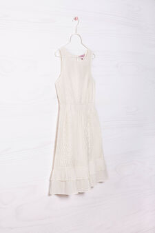 Sleeveless dress with lace, Cream White, hi-res
