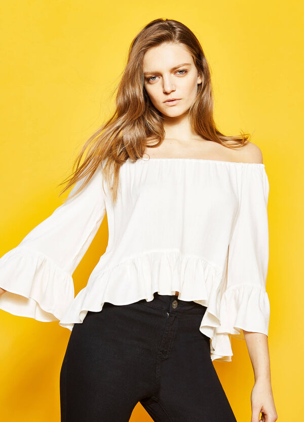Off-the-shoulder pleated blouse | OVS