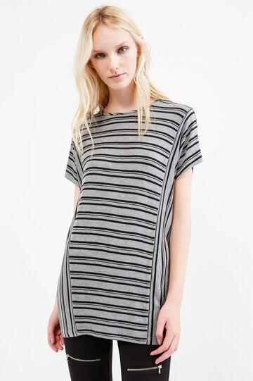 Long T-shirt in striped stretch viscose, Black/Grey, hi-res