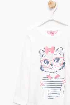 Cotton T-shirt with glitter print, Milky White, hi-res