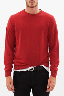 Pullover with round neck, Red, hi-res