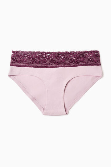 Stretch French knickers with lace, Mauve, hi-res