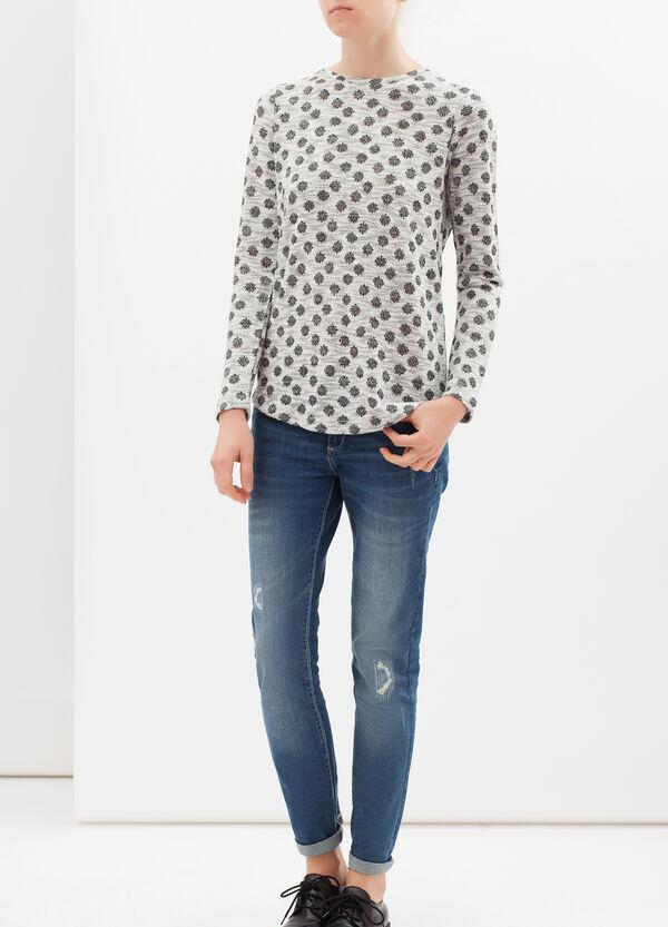 Viscose-lurex blend T-shirt with polka dots | OVS