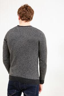 Cotton and viscose patterned pullover, Dark Grey Marl, hi-res