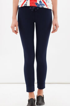 Leggings misto cotone stretch, Blu navy, hi-res