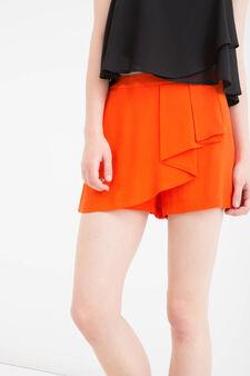 Shorts pura viscosa tinta unita, Rosso aragosta, hi-res