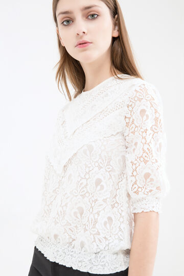 Cotton blend embroidered blouse, Cream White, hi-res