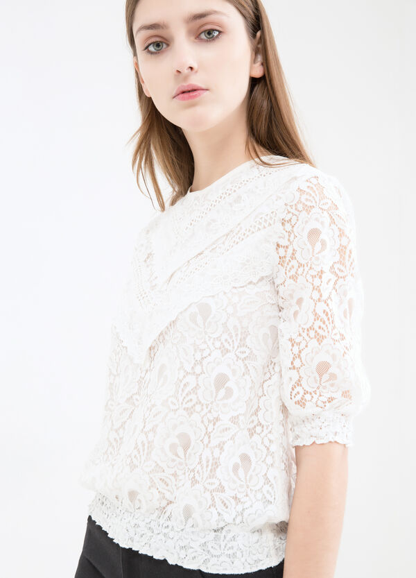 Cotton blend embroidered blouse | OVS