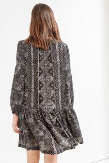 100% viscose dress with all-over print, Black, hi-res
