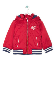 Nylon jacket with hood., Blue/Red, hi-res