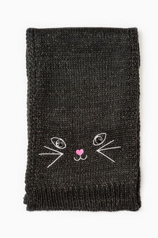 Knitted scarf with diamanté and embroidered motif., Black, hi-res