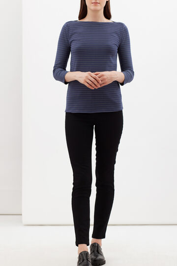 T-shirt cotone stretch a righe, Blu, hi-res