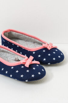 Slippers with star pattern and bows, Navy Blue, hi-res