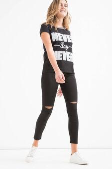 Pantaloni stretch tinta unita Teen, Nero, hi-res