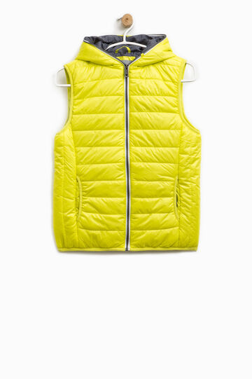 Padded waistcoat with hood and zip, Yellow, hi-res