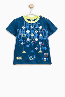 Maxi print T-shirt in 100% cotton, Navy Blue, hi-res