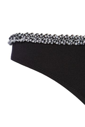 Solid colour stretch bikini bottoms, Black, hi-res