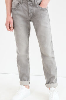 Straight-fit jeans with turn-ups at the ankles, Grey, hi-res