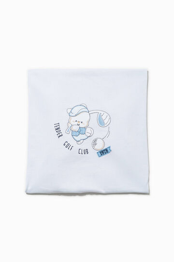 Blanket with animal patch, White/Light Blue, hi-res