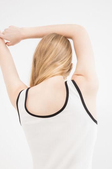 Top cotone stretch profili a contrasto, Bianco latte, hi-res